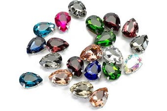 (18 * 13 MM, MIXED COLOR) - 13x18 mm Teardrop Sew on Rhinestone by Choupee, 48 PCS Assorted Colours, Sew on Mixed Colour Large Rhinestones for Clothes, Dress