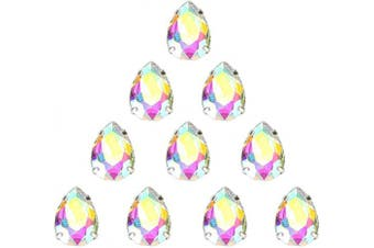 (18 * 13 MM, CRYSTAL AB) - 13x18 mm AB Teardrop Sew on Rhinestone by Choupee 48 PCS, Drop Rhinestones Sew on in Metal Prong Setting for Dresses, Clothes, Bags, Shoes