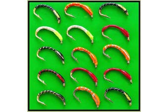 (Epoxy Buzzers Hooks size 16) - Epoxy Buzzer Trout fishing flies lures. Hook sizes 6 to 18 Random selection of colours. Set 90 x 15 flies. For Trout Fly Fishing