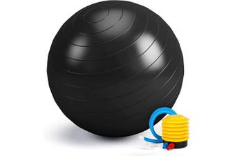(Black, 55cm) - Switory Exercise Ball for Fitness, Stability, Balance & Yoga Ball 55/65/75cm- Workout Guide & Quick Pump Included – Stability Ball for Home, Gym, Chair, Birthing Ball