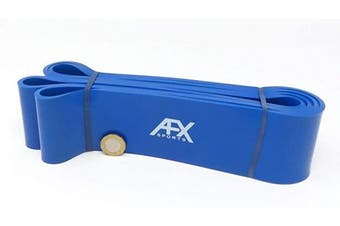 (BLUE) - AFX Sports Resistance Bands - Pull Up Bands - Exercise Bands for CrossFit - Powerlifting - Assisted Pull Ups - Mobility Bands (One Band) for Men and Women - Choice of 6