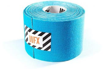 (5cm - width (1x roll), 1x Light-blue) - #DoYourFitness® x World Fitness WFX 1x Kinesiology Tape [5m x 5cm LxW] - Waterproof Muscle Support, Physio Therapeutic Aid, Made of 100% Cotton - Skin-Friendly - in Different Sizes and Colours