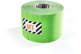 (5cm - width (1x roll), 1x Light-green) - #DoYourFitness® x World Fitness WFX 1x Kinesiology Tape [5m x 5cm LxW] - Waterproof Muscle Support, Physio Therapeutic Aid, Made of 100% Cotton - Skin-Friendly - in Different Sizes and Colours