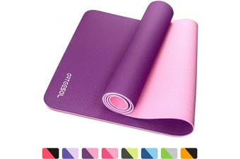 (Purple) - arteesol Fitness Mat, Non-Slip Exercise Yoga Mat Eco Friendly TPE Pilates Mat with Carrying Strap for Gymnastics Yoga Pilates Workout and Training, 183cm×61cm×6mm