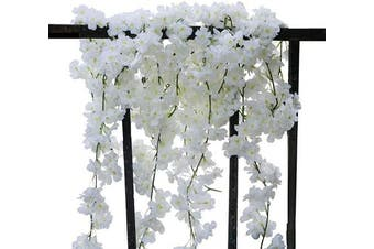 (2pcs White) - AKSIPO 2Pcs Artificial Cherry Blossom Garland Silk Flower Garland Handmade Hanging White Flower Vines for Wedding Backdrop Arch Wall Indoor Outdoor Hotel Office Party Home Room Decor