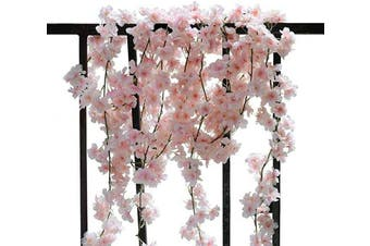 (2pcs Pink) - AKSIPO 2Pcs Artificial Cherry Blossom Garland Silk Flower Garland Handmade Hanging Pink Flower Vines for Wedding Backdrop Arch Wall Indoor Outdoor Hotel Office Party Home Room Decor