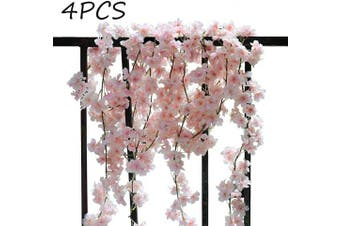 (4pcs Pink) - AKSIPO 4Pcs Artificial Cherry Blossom Wall Hanging Cherry Vine Silk Floral Garland Pink Flowers String Fake Flowers Garland for Home Wedding Arch Outdoor Garden Wall Decor Party Decoration