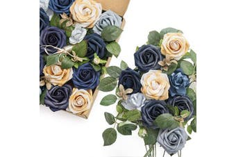 (Midnight Blue) - Ling's moment Artificial Flowers Midnight Blue Combo for DIY Wedding Bouquets Centrepieces Arrangements Party Baby Shower Home Decorations