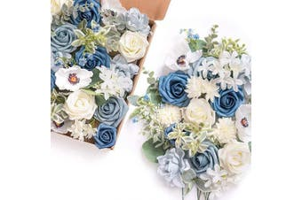 (Demure Blue) - Ling's moment Artificial Flowers Combo for DIY Wedding Bouquets Centrepieces Arrangements Party Baby Shower Home Decorations (Demure Blue)