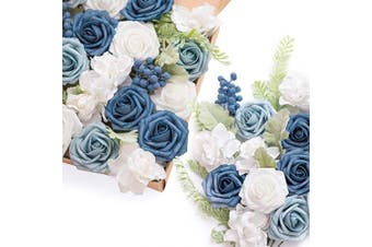 (French Dusty Blue) - Ling's moment Artificial Wedding Flowers Combo Box Set for DIY Bouquets Table Centrepieces Flower Arrangements Cake Decorations (French Dusty Blue)