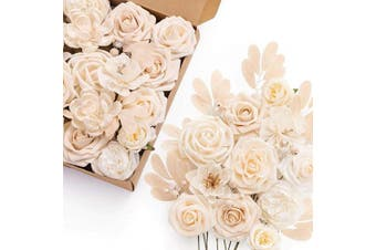 (Earthy Cream) - Ling's moment Artificial Flowers Box Set for DIY Wedding Bouquets Centrepieces Arrangements Party Baby Shower Home Decorations