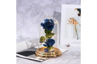 (Enchanted Blue Rose) - Beauty and The Beast Rose , Blue Rose Kit, Silk Rose and Led Light with Fallen Petals in Glass Dome on Copper Plating Base Forever Rose Gift for Mother's Day Valentine's Day Anniversary Birthday …