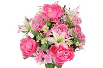(Pink) - Admired By Nature Artificial Full Blooming Tiger Lily, Peony & Hydrangea with Green Foliage Mixed Flowers Bush - 24 Stems for Mother's Day or Decoration for Home, Restaurant, Office & Wedding, Pink