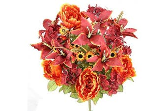 (Red) - Admired By Nature Artificial Full Blooming Tiger Lily, Peony & Hydrangea with Green Foliage Mixed Flowers Bush, Red