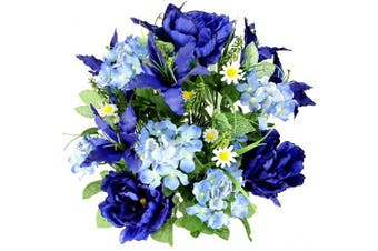 (Blue-tiger Lily) - Admired By Nature Artificial Full Blooming Tiger Lily, Peony & Hydrangea with Green Foliage Mixed Bush for Home, Wedding, Restaurant & Office Decoration Arrangement, Blue, 24 Stems