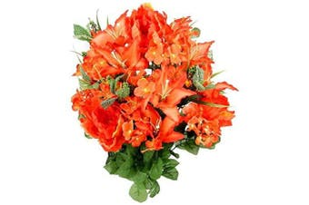 (Coral) - Admired By Nature Artificial Full Blooming Tiger Lily, Peony & Hydrangea with Green Foliage Mixed Flowers Bush, Coral