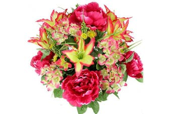 (Velvet) - Admired By Nature 24 Stems Artificial Full Blooming Tiger Lily, Peony & Hydrangea with Green Foliage Mixed Flowers Bush for Mother's Day or Decoration for Home, Restaurant, Office & Wedding, Velvet