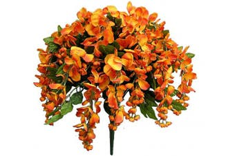(Pumpkin) - Admired By Nature 18 Branches of Long Hanging Artificial Wisteria Flower Bush, Pumpkin