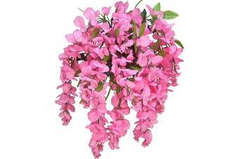 (Pink) - Artificial Wisteria Long Hanging Bush Flowers - 15 Stems For Home, Wedding, Restaurant and Office Decoration Arrangement, Pink