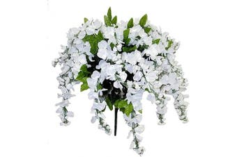 (White) - Admired by Nature GPB392-WHITE Artificial Wisteria Hanging Flowers Bush, White, 15 Stem, W.White-392