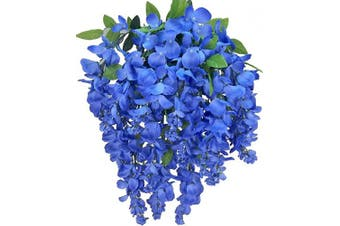 (Periwinkle) - Artificial Wisteria Long Hanging Bush Flowers - 15 Stems For Home, Wedding, Restaurant and Office Decoration Arrangement, Periwinkle