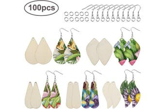 100 Pieces of Wooden DIY Earrings- Unfinished Wooden Earring with 100 Earring Hooks and 100 Open Rings for Handicraft Lovers to Make Handmade Earrings