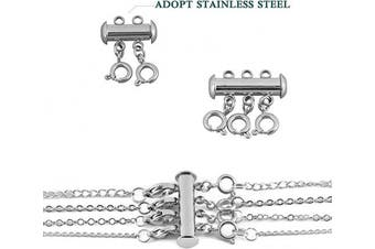 (Stainless Steel) - Necklace Spacer Clasp Layering Clasps Layered Necklace Detangler Slide Clasp Lock Necklace Connector for Layered Bracelet Jewellery Craft (2pcs, Stainless Steel)