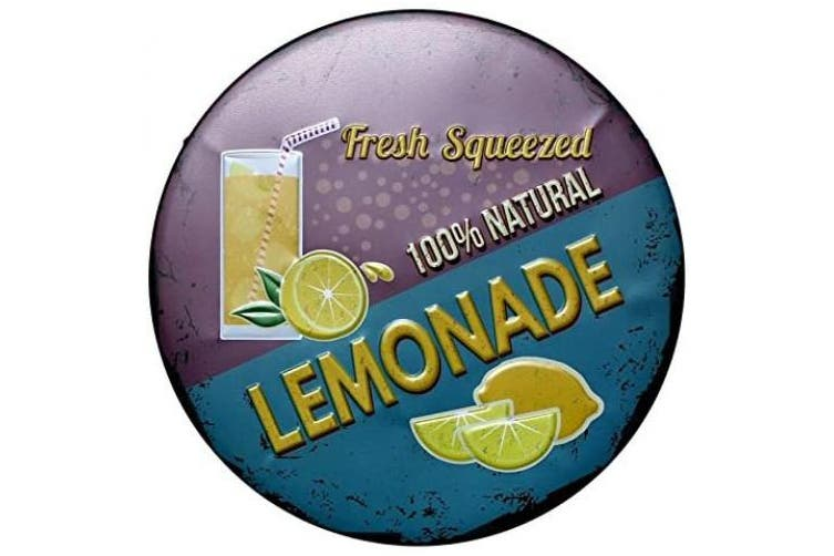 (1) - MAIYUAN Decorative Metal Tin Signs for Craft Wall Decor Fresh Squeezed Natural Lemonade Drink Plaque Signs for Coffee Bar, Pub, Hotel, Beverage Shop Home Decoration