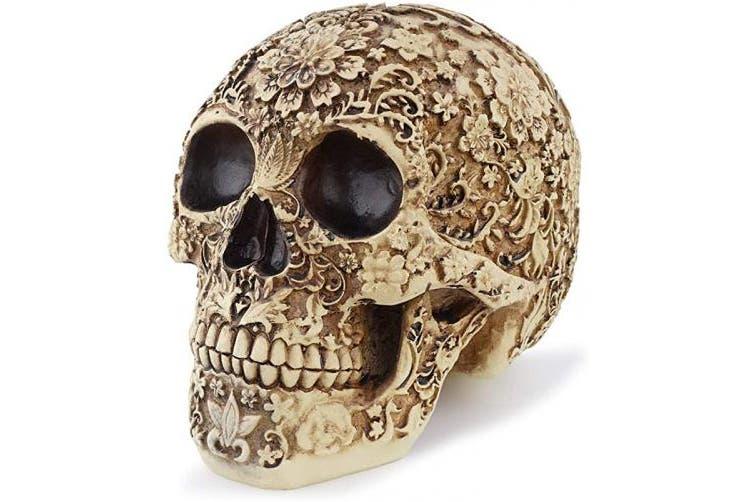(Flower) - Yundxi Realistic Skull Head Statue Human Skeleton Figurines Head Bone Model for Halloween Bar Home Table Decoration (Flower)