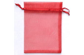 (Red) - ATCG 50pcs 20cm x 30cm Large Drawstring Sheer Organza Bags Decoration Festival Wedding Party Favour Gift Candy Toys Makeup Pouches (Red)