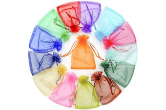 (Assorted Colors) - ATCG 50pcs 20cm x 30cm Large Sheer Organza Drawstring Pouches Wedding Party Toys Makeup Favour Present Bags (Assorted Colours)