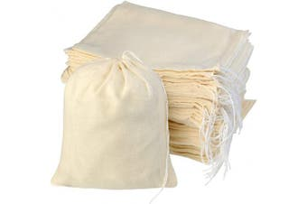 (15cm  x 20cm ) - 100pcs Cotton Drawstring Bags, Reusable Muslin Bag Natural Cotton Bags with Drawstring Produce Bags Bulk Gift Bag Jewellery Pouch for Party Wedding Home Storage, Natural Colour (15cm x 20cm )