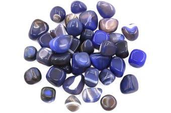 "(17-25mm (0.67""- 0.98""), Blue Agate) - Hilitchi Blue Agate Stone Tumbled Stones for Plants Cacti & Succulents Bedding, Vase Filler, Landscape Bottom Decoration (About 1lb(455g)/Bag)"