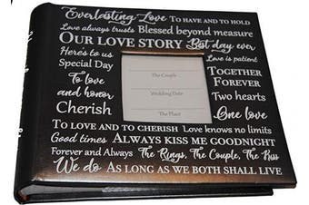 (Black With Words) - Changing Seasons 23cm x 25cm Wedding Anniversary Photo Album Holds 200 10cm x 15cm Photos (Black with Words)