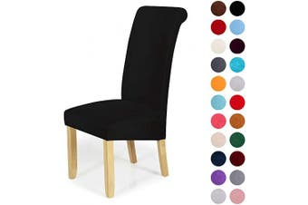 (6-Large, Black) - Velvet Stretch Dining Chair Slipcovers - Spandex Plush Short Chair Covers Solid Large Dining Room Chair Protector Home Decor Set of 6, Black