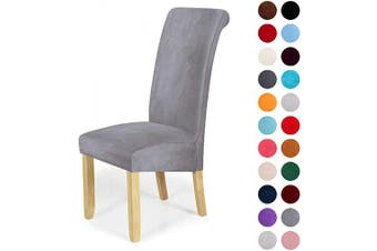 (4-Large, Silver Grey) - Velvet Stretch Dining Chair Slipcovers - Spandex Plush Short Chair Covers Solid Large Dining Room Chair Protector Home Decor Set of 4, Silver Grey