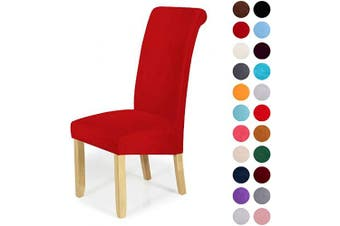 (4-Large, Red) - Velvet Stretch Dining Chair Slipcovers - Spandex Plush Short Chair Covers Solid Large Dining Room Chair Protector Home Decor Set of 4, Red