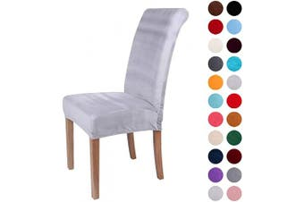 (4-Medium, Light Gray) - Colorxy Velvet Spandex Fabric Stretch Dining Room Chair Slipcovers Home Decor Set of 4, Light Grey