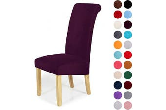 (6-Large, Dark Purple) - Velvet Stretch Dining Chair Slipcovers - Spandex Plush Short Chair Covers Solid Large Dining Room Chair Protector Home Decor Set of 6, Dark Purple