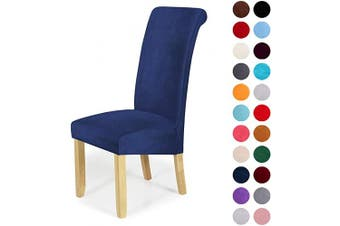 (4-Large, Navy Blue) - Velvet Stretch Dining Chair Slipcovers - Spandex Plush Short Chair Covers Solid Large Dining Room Chair Protector Home Decor Set of 4, Navy