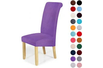 (4-Large, Light Purple) - Velvet Stretch Dining Chair Slipcovers - Spandex Plush Short Chair Covers Solid Large Dining Room Chair Protector Home Decor Set of 4, Light Purple
