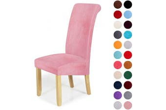 (6-Large, Pink) - Velvet Stretch Dining Chair Slipcovers - Spandex Plush Short Chair Covers Solid Large Dining Room Chair Protector Home Decor Set of 6, Pink