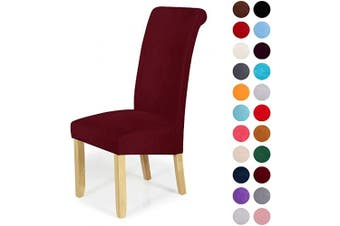 (4-Large, Wine Red) - Velvet Stretch Dining Chair Slipcovers - Spandex Plush Short Chair Covers Solid Large Dining Room Chair Protector Home Decor Set of 4, Wine Red
