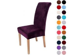 (2-Medium, Dark Purple) - Colorxy Velvet Spandex Fabric Stretch Dining Room Chair Slipcovers Home Decor Set of 2, Dark Purple