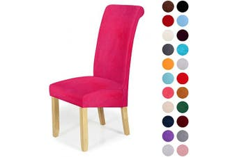 (2-Large, Rose Red) - Velvet Stretch Dining Chair Slipcovers - Spandex Plush Short Chair Covers Solid Large Dining Room Chair Protector Home Decor Set of 2, Rose Red