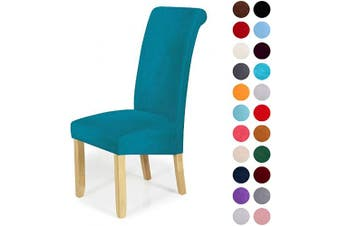 (6-Large, Peacock Green) - Velvet Stretch Dining Chair Slipcovers - Spandex Plush Short Chair Covers Solid Large Dining Room Chair Protector Home Decor Set of 6, Peacock Green