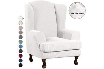 (Ivory) - Turquoize Wing Chair Slipcover Wingback Armchair Chair Slipcovers Sofa Covers 2-Piece Spandex Fabric Wing Back Wingback Armchair Chair Slipcovers(Wing Chair, Ivory)