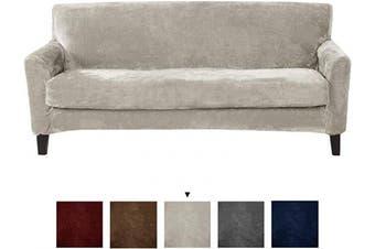 (Sofa, Silver Cloud) - Great Bay Home 2 Piece Velvet Plush Sofa Slipcover. Form Fit, Stretch Slip Resistant, Strapless Slipcover. Soft Stretch Sofa Slipcover. Elliana Collection (Sofa, Silver Cloud)