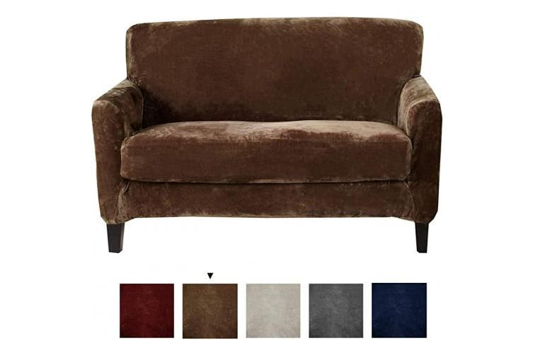 (Love Seat, Walnut Brown) - Great Bay Home 2 Piece Velvet Plush Loveseat Slipcover. Form Fit, Stretch Slip Resistant, Strapless Slipcover. Soft Stretch Loveseat Slipcover. Elliana Collection (Love Seat, Walnut Brown)
