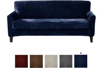 (Sofa, Dark Denim Blue) - Great Bay Home 2 Piece Velvet Plush Sofa Slipcover. Form Fit, Stretch Slip Resistant, Strapless Slipcover. Soft Stretch Sofa Slipcover. Elliana Collection (Sofa, Dark Denim Blue)